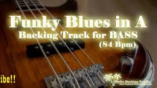 Funky BLUES BASS BackingTrack in A 84 bpm