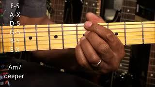 How To Play Funky A Minor Chord Shapes On Electric Guitar EricBlackmonMusic